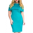 New Fashion Graceful Round Neck Short Sleeve Plain Midi Pencil Dress