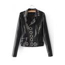 Grommet Zip Design Notched Lapel Collar Long Sleeve Plain Biker Jacket