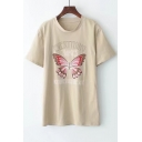 Cute Butterfly Graphic Printed Short Sleeve Round Neck Tee