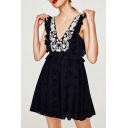 Sexy Plunge V-Neck Floral Lace Panel Button Back Mini Cami Dress