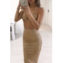 Sexy Halter Sleeveless Cropped Cami Top with Maxi Bodycon Skirt Plain Sequined Co-Ords