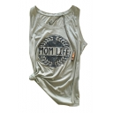 Hot Fashion MON LIFE Letter Pattern Round Neck Sleeveless Tank Tee