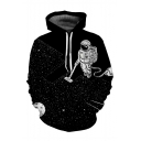 Hot Fashion Space Astronaut Printed Long Sleeve Casual Loose Hoodie