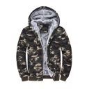 New Fashion Classic Camouflage Printed Long Sleeve Zip Up Hooded Coat