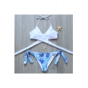 Halter Neck Plain Bikini Top String Side Leaves Printed Bottom Swimwear