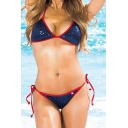New Fashion Sequined Embellished Halter Neck Itsy String Bottom Color Block Bikini Swimwear