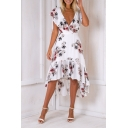 Sexy Plunge Neck Chic Floral Printed Ruffle Hem High Low A-Line Asymmetrical Dress
