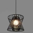 Industrial Hanging Pendant Light Single Light with Wire Net Metal Cage in Black