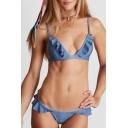 New Fashion Ruffle Hem Plain Spaghetti Straps Hipster Bikini Swimwear