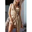 Holiday Sexy Plunge Neck Sleeveless Simple Plain Mini Asymmetrical Wrap Dress