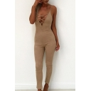 Sexy Lace-Up Plunge Neck Spaghetti Straps Sleeveless Plain Slim Jumpsuits