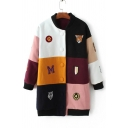 New Arrival Fashion Color Block Cartoon Letter Embroidered Long Sleeve Tunic Coat