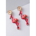 New Fashion Floral Flamingo Design Chic Earrings