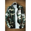 Stand Up Collar Long Sleeve Fashion Camouflage Printed Zip Up Baseball Jacket