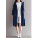Basic Simple Plain Hooded Long Sleeve Oversize Longline Denim Coat
