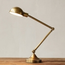 Industrial Table Lamp 19 Inch High Adjustable Arm with Gold Bowl Shade