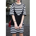 New Arrival Fake Two-Piece Cami Round Neck Half Sleeve Striped Printed Mini T-Shirt Dress