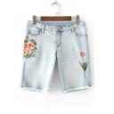 Chic Floral Embroidered High Waist Fringe Hem Denim Shorts