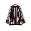 Color Block Striped Printed Open Front Long Sleeve Cardigan with Double Pockets