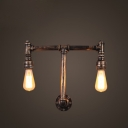 Industrial Pipe Wall Sconce in Antique Bronze Finish with Edison Bulbs, 2 Lights