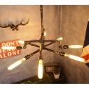 Industrial Chandelier in Bronze Finish, 35'' Width 8 Lights