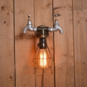 Industrial Tap Wall Sconce with Wire Cage Shade, 6.3'' Width