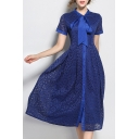 Chic Bow Tie Collar Short Sleeve Fashion Lace Inserted Midi A-Line Dress