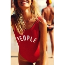 Basic Simple Letter Printed Hot Fashion Round Neck One Piece Swimwear