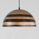 Industrial Pendant Light Striped Dome Shade, Full Size