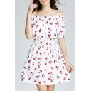 New Arrival Off The Shoulder Short Sleeve Cherry Printed Mini A-Line Dress