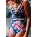 Vintage Floral Printed Spaghetti Straps Sleeveless One Piece Swimwear