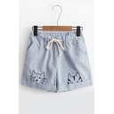 Summer's Lovely Cartoon Cat Embroidered Elastic Drawstring Waist Striped Loose Shorts