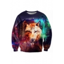 Galaxy Wolf Pattern Round Neck Casual Loose Pullover Unisex Sweatshirt