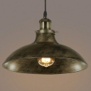 Antique Brass Pendant Light with Bowl  Dome Shade