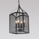 Industrial Pendant Chandelier 22 Inch High with Wave Mesh Cage in Black