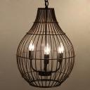 Industrial Chandelier 3 Light with Novelty Vase Bird Lantern Shade