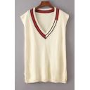 Contrast V Neck Sleeveless Split Side Pullover Knit Sweater Vest