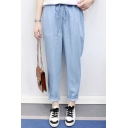 Casual Loose Comfort Elastic Drawstring Waist Plain Tapered Jeans