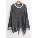 New Arrival Broken Asymmetric Hem Round Neck Long Sleeve Pullover Sweater