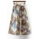 Holiday Beach Foliage Printed Elastic Waist Loose Wide Legs Culottes Pants