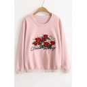 Chic Rose Embroidered Long Sleeve Round Neck Pullover Casual Sweatshirt