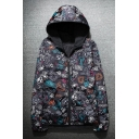 New Arrival Fashion Printed Hooded Long Sleeve Reversible Zip Up Parka Coat