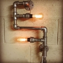 Industrial Pipe Loft Style Wall Sconce in Silver Finish, 2 Lights 12'' Height
