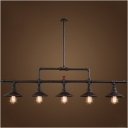 Industrial Valve Island Light in Black Finish with Cone Shade, 5 Lights