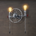 Industrial Loft Wheel Wall Sconce in Silver Finish 2 Lights