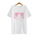 Fashion Comic Girl Pattern Short Sleeve Round Neck Pullover Tee