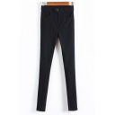 Basic Simple Plain Midi Rise High Elasticity Skinny Pants