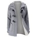 Winter's Warm Hooded Long Sleeve Plain Zip Up Cotton Coat with Pockets