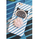 Fashion Striped Cartoon Cat Printed Mobile Phone Case for iPhone