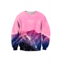 3D Pink Mountain Pattern Round Neck Long Sleeve Fashion Pullover Sweatshirt